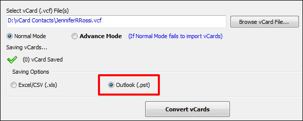 Select Outlook as Option to Import vCard to Outlook